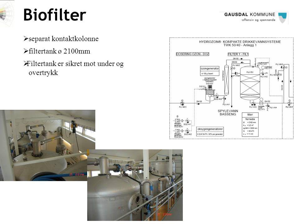 Biofilter  Filtertank er sikret mot under og overtrykk  filtertank ø 2100mm  separat kontaktkolonne