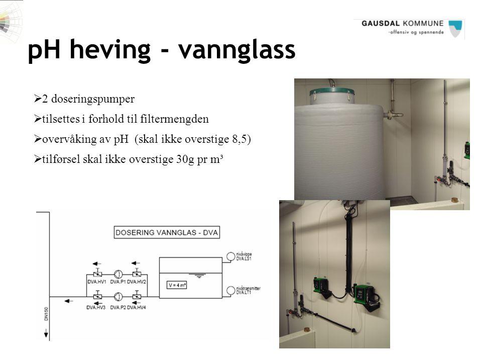pH heving - vannglass  tilsettes i forhold til filtermengden  2 doseringspumper  overvåking av pH (skal ikke overstige 8,5)  tilførsel skal ikke o