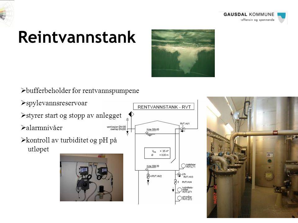 Reintvannstank  bufferbeholder for rentvannspumpene  spylevannsreservoar  styrer start og stopp av anlegget  alarmnivåer  kontroll av turbiditet