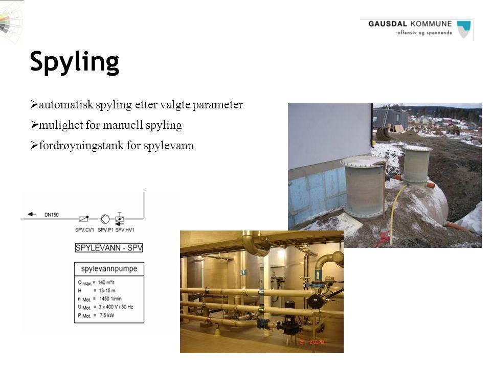 Spyling  mulighet for manuell spyling  automatisk spyling etter valgte parameter  fordrøyningstank for spylevann