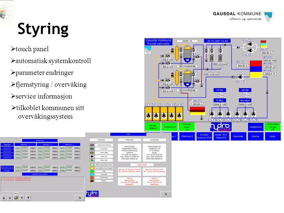 Styring  touch panel  parameter endringer  fjernstyring / overvåking  automatisk systemkontroll  service informasjon  tilkoblet kommunen sitt ov