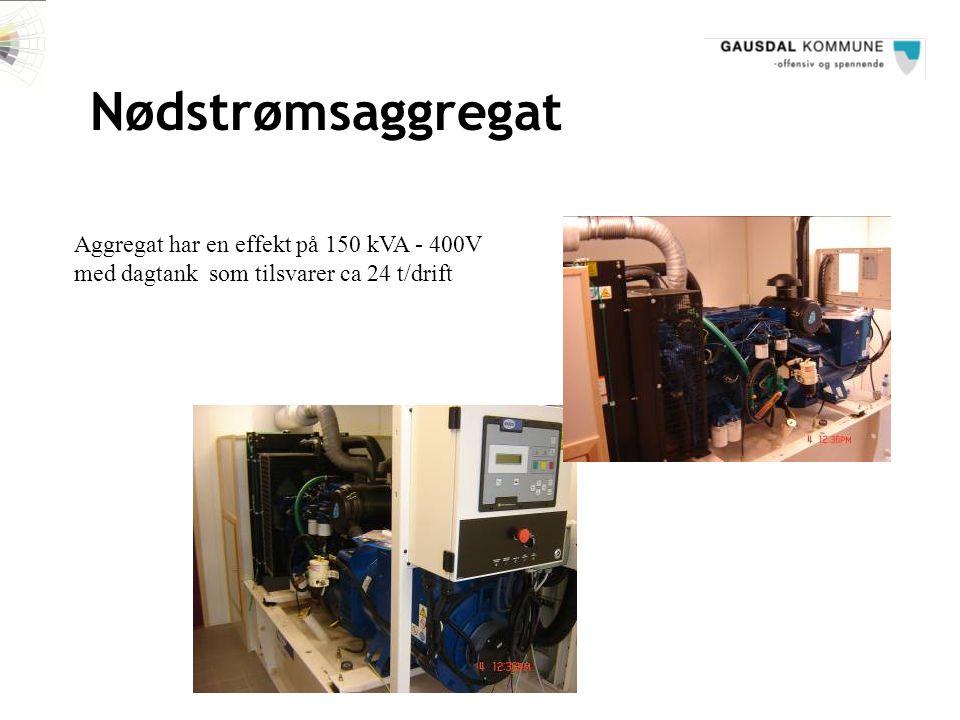 Nødstrømsaggregat Aggregat har en effekt på 150 kVA - 400V med dagtank som tilsvarer ca 24 t/drift