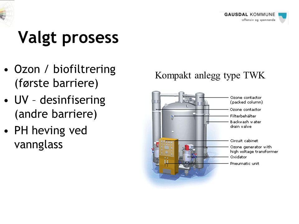 Valgt prosess Kompakt anlegg type TWK •Ozon / biofiltrering (første barriere) •UV – desinfisering (andre barriere) •PH heving ved vannglass