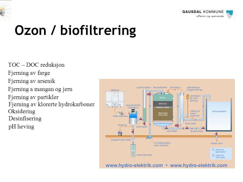 Ozon / biofiltrering TOC – DOC reduksjon Fjerning av farge Fjerning av arsenik Fjerning a mangan og jern Fjerning av partikler Fjerning av klorerte hy