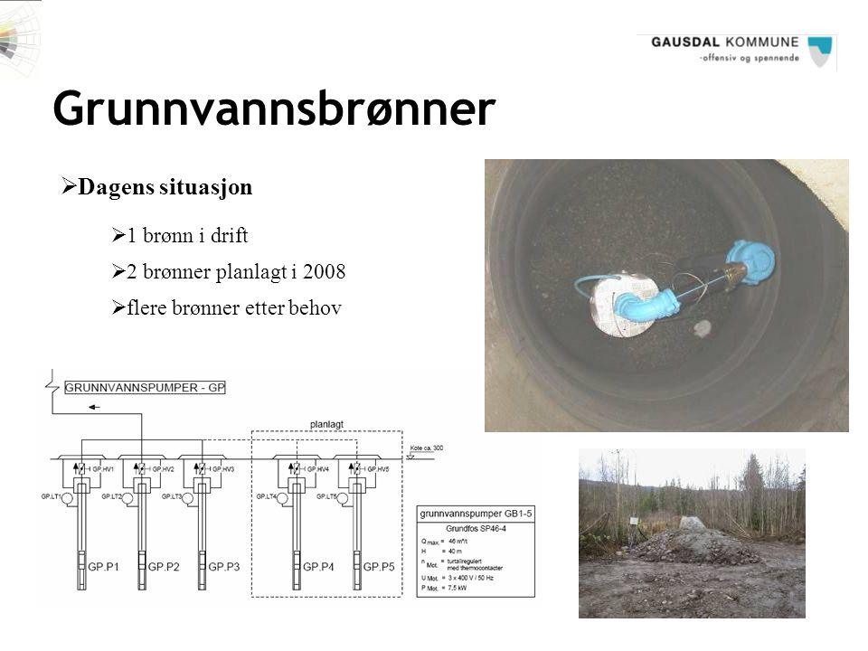 Grunnvannsbrønner  Dagens situasjon  1 brønn i drift  2 brønner planlagt i 2008  flere brønner etter behov