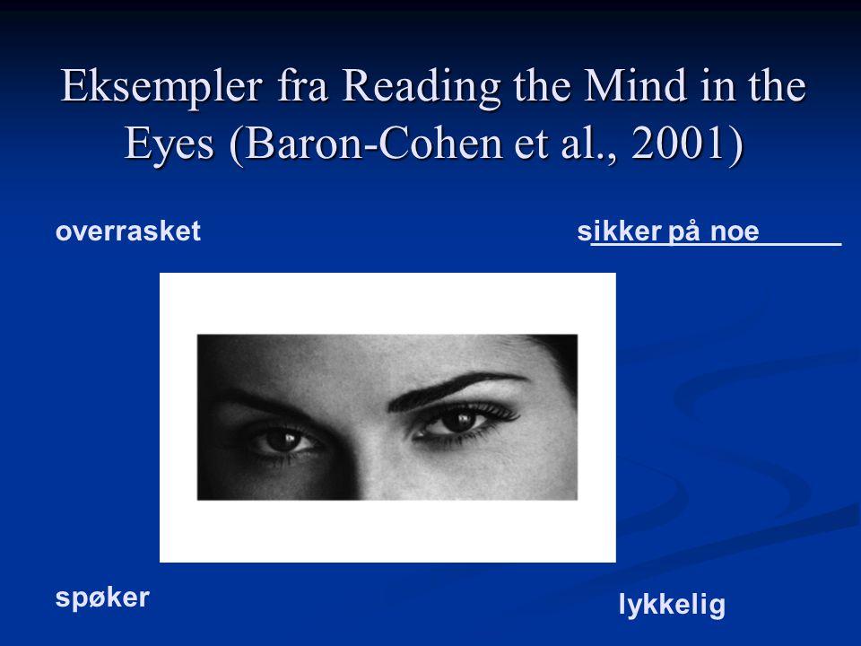 Eksempler fra Reading the Mind in the Eyes (Baron-Cohen et al., 2001) overrasketsikker på noe spøker lykkelig