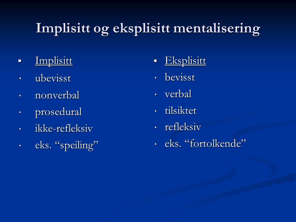 """Implisitt og eksplisitt mentalisering  Implisitt ٠ ubevisst ٠ nonverbal ٠ prosedural ٠ ikke-refleksiv ٠ eks. """"speiling""""  Eksplisitt ٠ bevisst ٠ verb"""