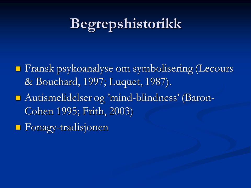 Begrepshistorikk  Fransk psykoanalyse om symbolisering (Lecours & Bouchard, 1997; Luquet, 1987).  Autismelidelser og 'mind-blindness' (Baron- Cohen