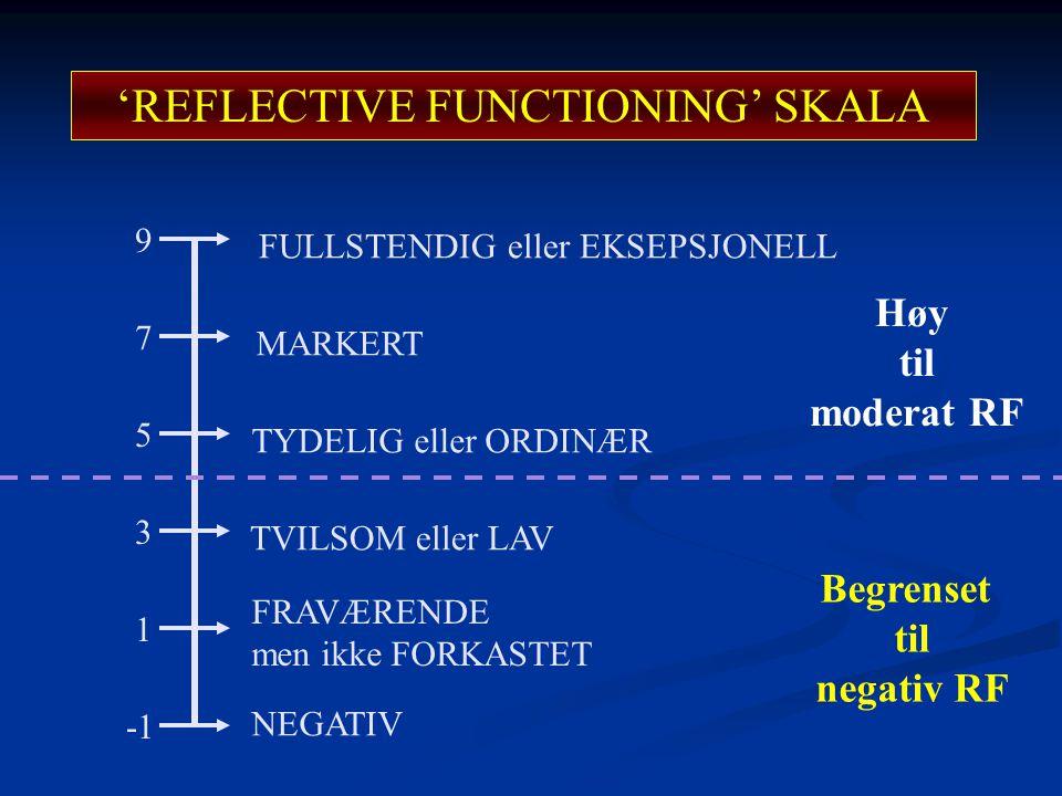 'REFLECTIVE FUNCTIONING' SKALA 1 3 9 7 5 NEGATIV TYDELIG eller ORDINÆR MARKERT FULLSTENDIG eller EKSEPSJONELL TVILSOM eller LAV FRAVÆRENDE men ikke FO