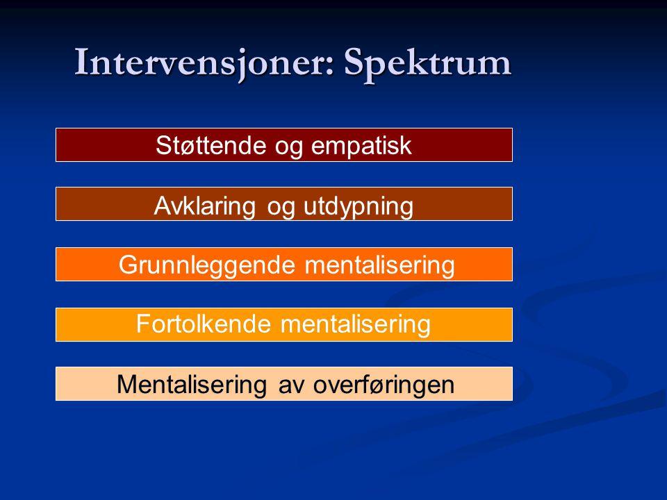 Intervensjoner: Spektrum Støttende og empatisk Avklaring og utdypning Grunnleggende mentalisering Fortolkende mentalisering Mentalisering av overførin