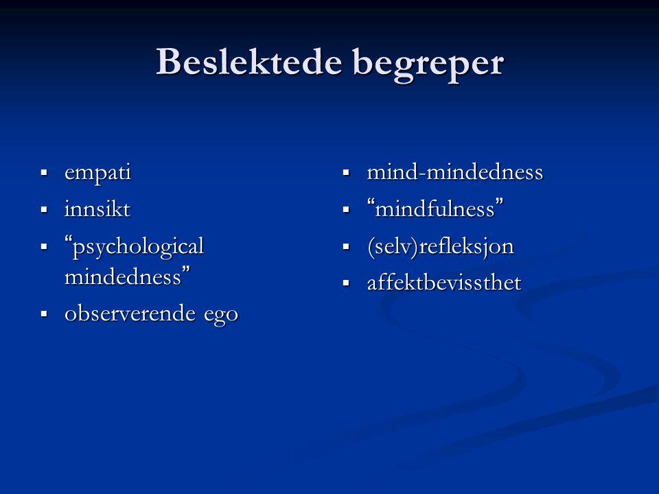 """Beslektede begreper  empati  innsikt  """" psychological mindedness """"  observerende ego  mind-mindedness  """"mindfulness""""  (selv)refleksjon  affekt"""
