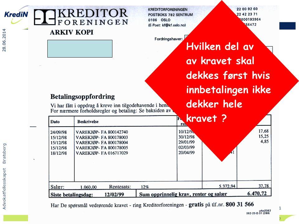 28.06.2014 Advokatfellesskapet Bratsberg 51 Hvilken del av av kravet skal dekkes først hvis innbetalingen ikke dekker hele kravet ?