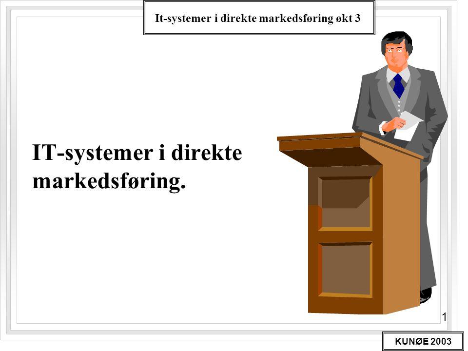 It-systemer i direkte markedsføring økt 3 KUNØE 2003 22 IT i DM Litt mer databasespråk •En record er sammensatt av felter •Hvert felt har en overskrift, eks.