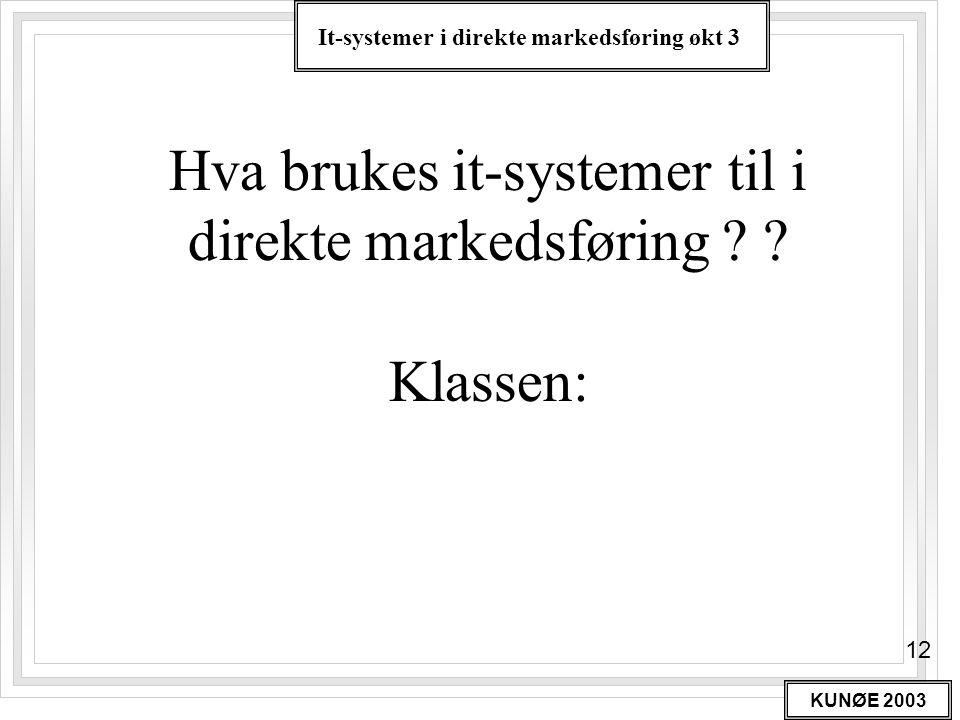 It-systemer i direkte markedsføring økt 3 KUNØE 2003 12 Hva brukes it-systemer til i direkte markedsføring ? ? Klassen: