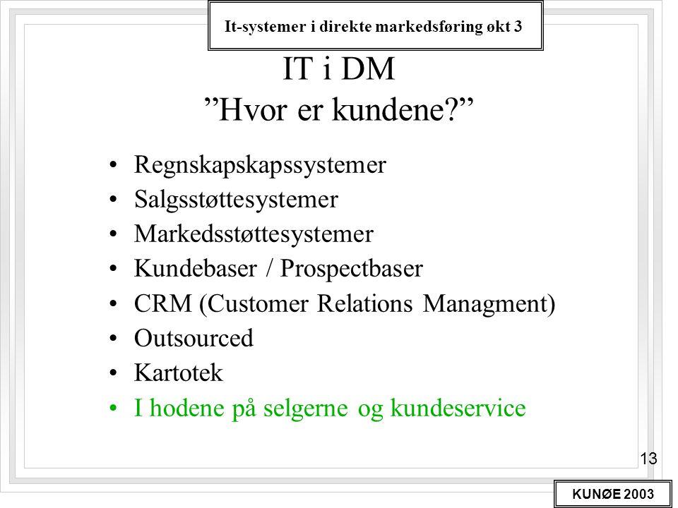 """It-systemer i direkte markedsføring økt 3 KUNØE 2003 13 IT i DM """"Hvor er kundene?"""" •Regnskapskapssystemer •Salgsstøttesystemer •Markedsstøttesystemer"""
