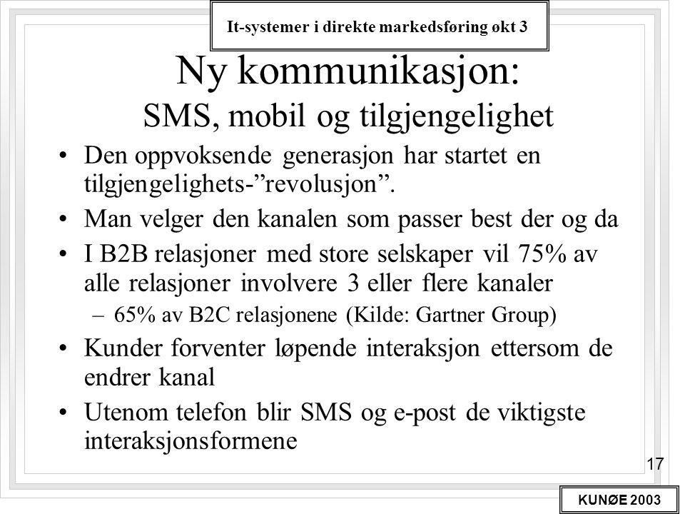 It-systemer i direkte markedsføring økt 3 KUNØE 2003 17 Ny kommunikasjon: SMS, mobil og tilgjengelighet •Den oppvoksende generasjon har startet en til