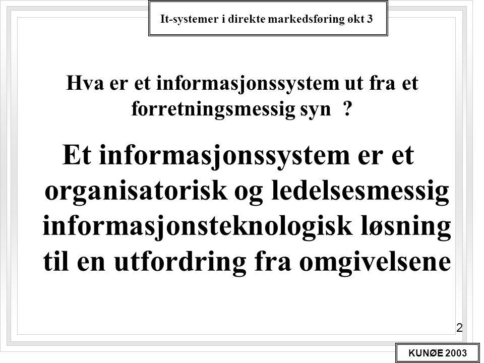 It-systemer i direkte markedsføring økt 3 KUNØE 2003 3 DEFINISJON AV MARKEDSSYSTEM Et markedssystem er en relasjonsdatabase som samler, lagrer og benytter all markedsrelevant informasjon i organisasjonen til forandringsrelatert kommunikasjon i henhold til et fastsatt ambisjonsnivå