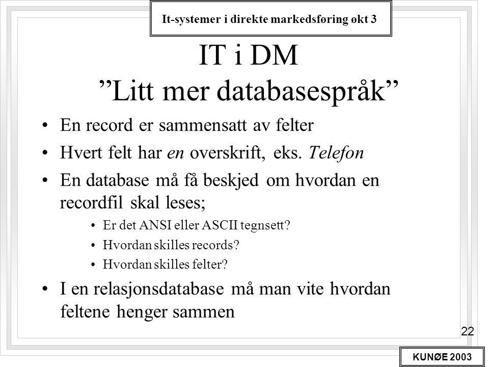 """It-systemer i direkte markedsføring økt 3 KUNØE 2003 22 IT i DM """"Litt mer databasespråk"""" •En record er sammensatt av felter •Hvert felt har en overskr"""