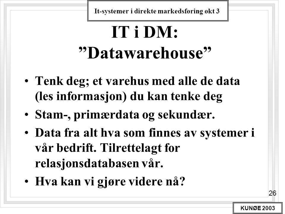 """It-systemer i direkte markedsføring økt 3 KUNØE 2003 26 IT i DM: """"Datawarehouse"""" •Tenk deg; et varehus med alle de data (les informasjon) du kan tenke"""
