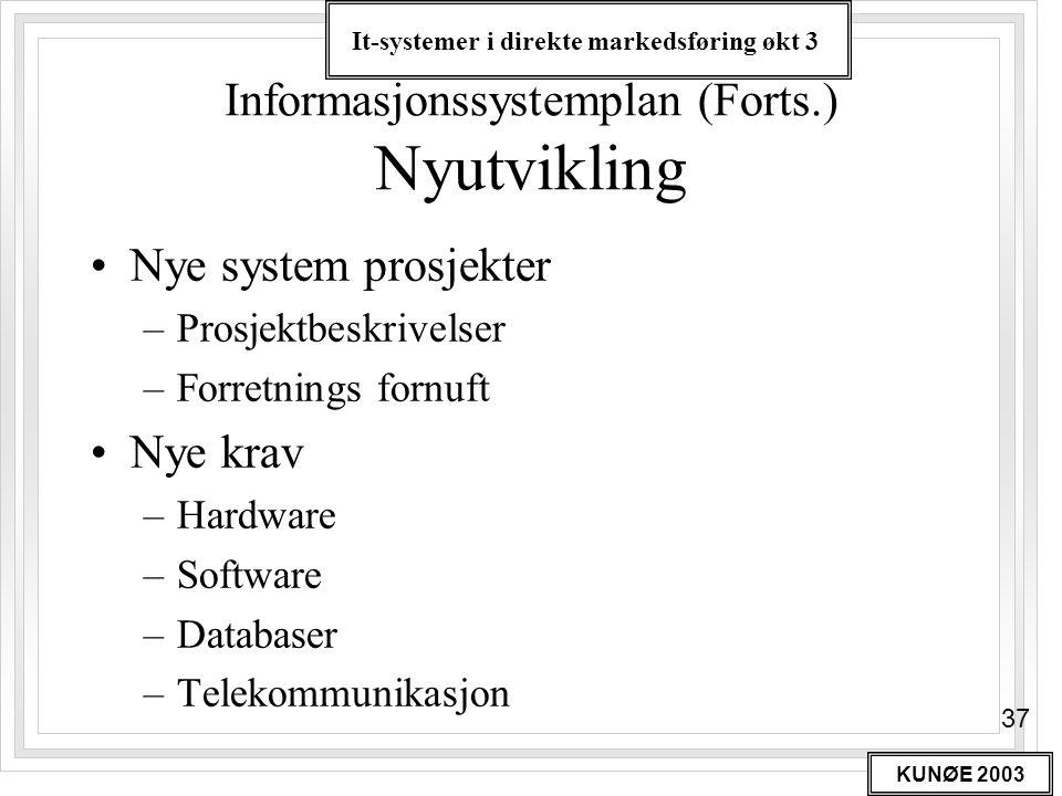 It-systemer i direkte markedsføring økt 3 KUNØE 2003 37 Informasjonssystemplan (Forts.) Nyutvikling •Nye system prosjekter –Prosjektbeskrivelser –Forr