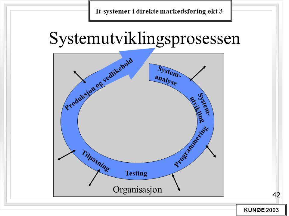 It-systemer i direkte markedsføring økt 3 KUNØE 2003 42 Systemutviklingsprosessen Organisasjon System- analyse System- utvikling Programmering Testing