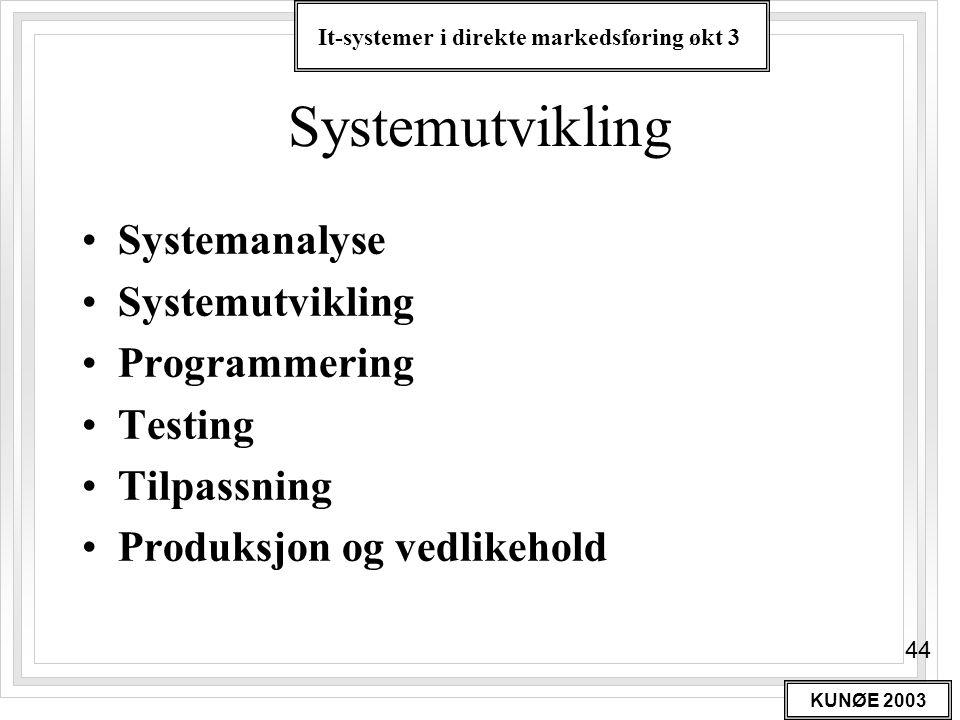 It-systemer i direkte markedsføring økt 3 KUNØE 2003 44 Systemutvikling •Systemanalyse •Systemutvikling •Programmering •Testing •Tilpassning •Produksj