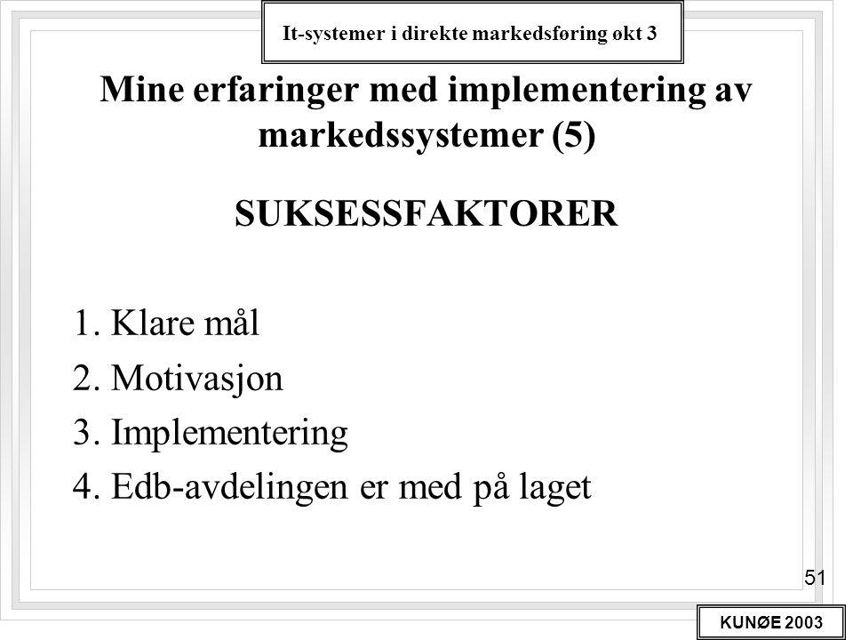 It-systemer i direkte markedsføring økt 3 KUNØE 2003 51 Mine erfaringer med implementering av markedssystemer (5) SUKSESSFAKTORER 1. Klare mål 2. Moti