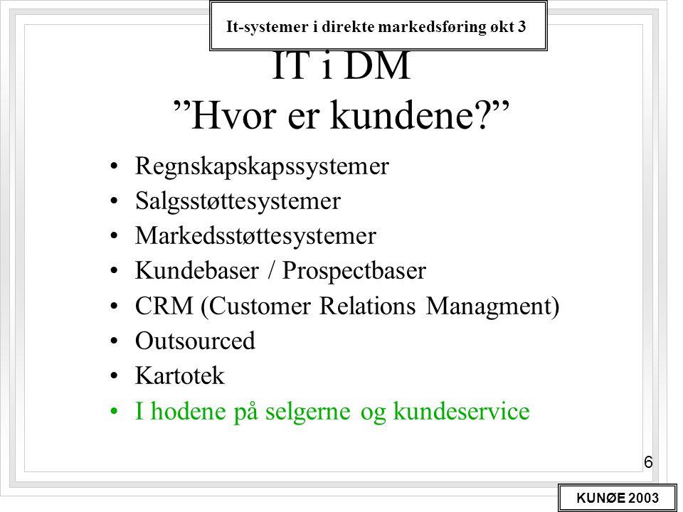 It-systemer i direkte markedsføring økt 3 KUNØE 2003 37 Informasjonssystemplan (Forts.) Nyutvikling •Nye system prosjekter –Prosjektbeskrivelser –Forretnings fornuft •Nye krav –Hardware –Software –Databaser –Telekommunikasjon