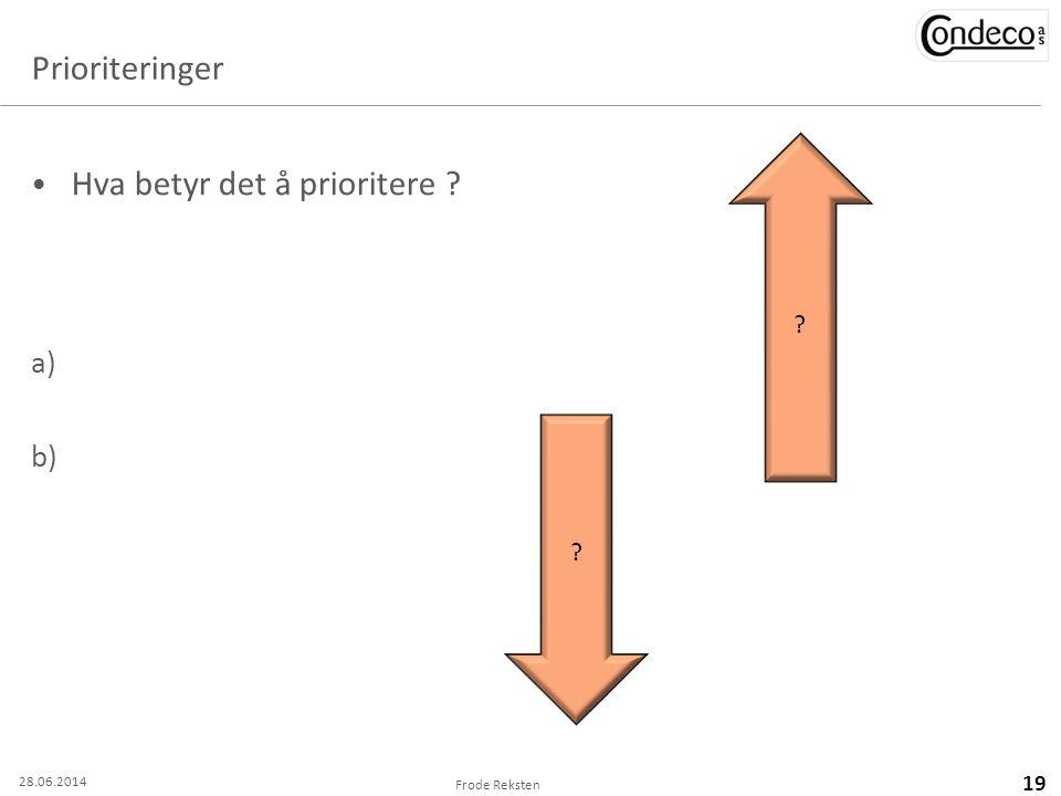 Prioriteringer • Hva betyr det å prioritere ? a) b) Frode Reksten 19 ? ? 28.06.2014