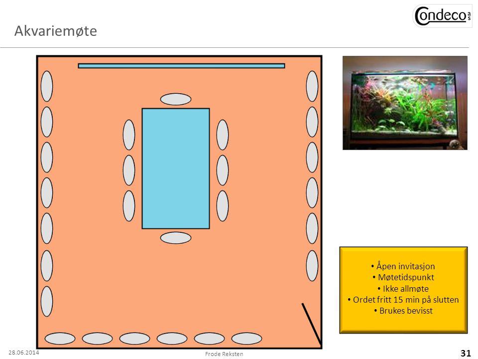Akvariemøte Frode Reksten 31 28.06.2014 • Åpen invitasjon • Møtetidspunkt • Ikke allmøte • Ordet fritt 15 min på slutten • Brukes bevisst
