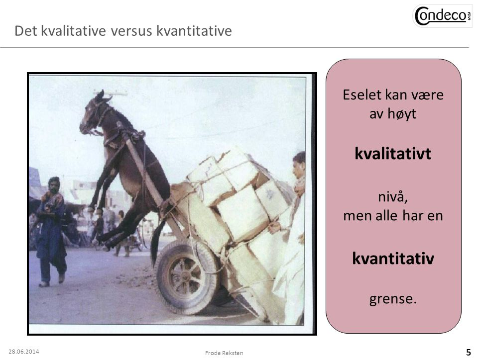 Det kvalitative versus kvantitative Frode Reksten 5 Eselet kan være av høyt kvalitativt nivå, men alle har en kvantitativ grense. 28.06.2014
