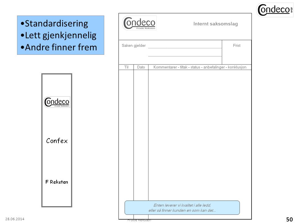 Frode Reksten 50 •Standardisering •Lett gjenkjennelig •Andre finner frem 28.06.2014