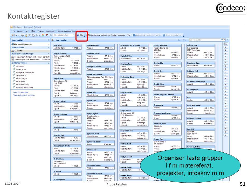 Kontaktregister Frode Reksten 51 Organiser faste grupper i f m møtereferat, prosjekter, infoskriv m m 28.06.2014