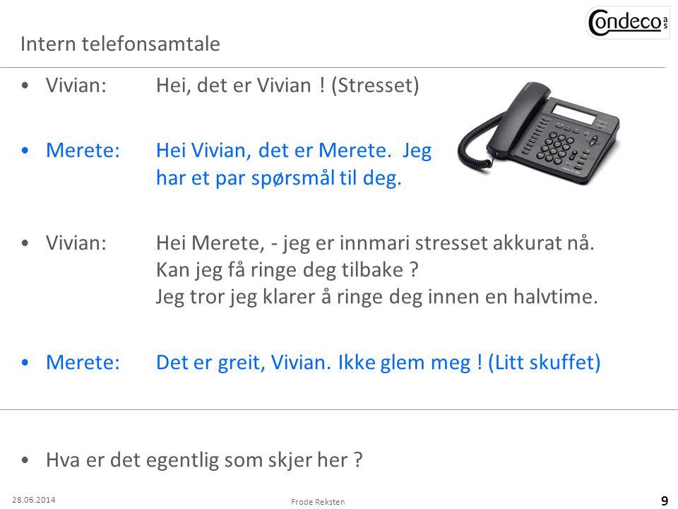 Intern telefonsamtale • Vivian: Hei, det er Vivian ! (Stresset) • Merete:Hei Vivian, det er Merete. Jeg har et par spørsmål til deg. • Vivian:Hei Mere