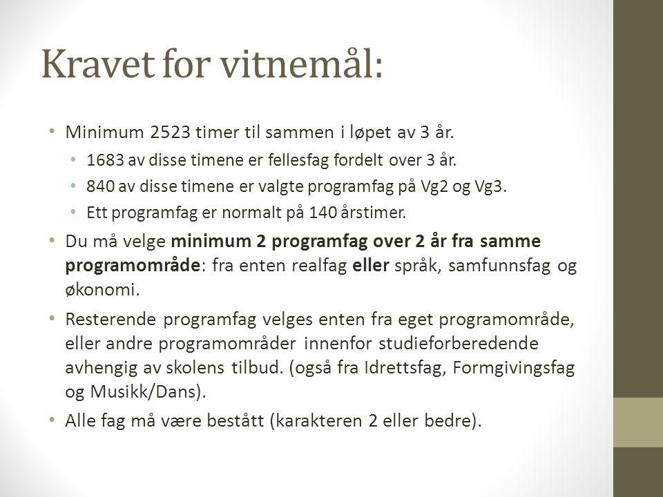 Kravet for vitnemål: • Minimum 2523 timer til sammen i løpet av 3 år. • 1683 av disse timene er fellesfag fordelt over 3 år. • 840 av disse timene er