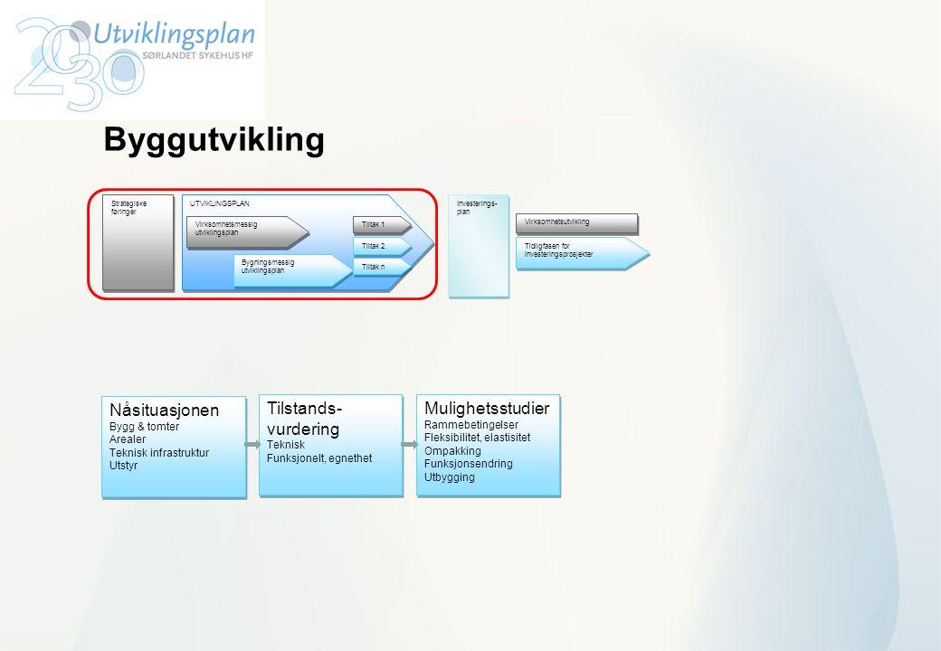 Byggutvikling UTVIKLINGSPLAN Virksomhetsmessig utviklingsplan Bygningsmessig utviklingsplan Tiltak 1 Tiltak n Investerings- plan Investerings- plan Ti