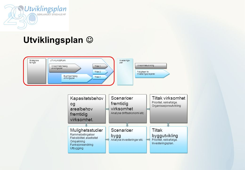 Utviklingsplan  UTVIKLINGSPLAN Virksomhetsmessig utviklingsplan Bygningsmessig utviklingsplan Tiltak 1 Tiltak n Investerings- plan Investerings- plan