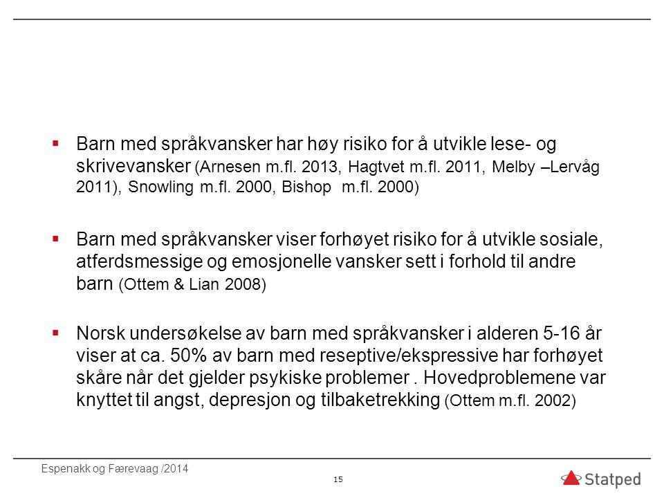  Barn med språkvansker har høy risiko for å utvikle lese- og skrivevansker (Arnesen m.fl. 2013, Hagtvet m.fl. 2011, Melby –Lervåg 2011), Snowling m.f