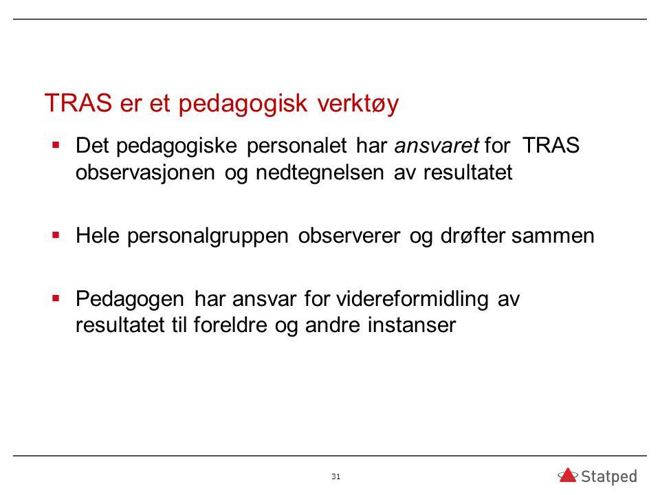 TRAS er et pedagogisk verktøy  Det pedagogiske personalet har ansvaret for TRAS observasjonen og nedtegnelsen av resultatet  Hele personalgruppen ob