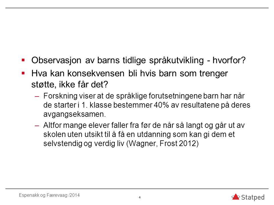  Barn med språkvansker har høy risiko for å utvikle lese- og skrivevansker (Arnesen m.fl.