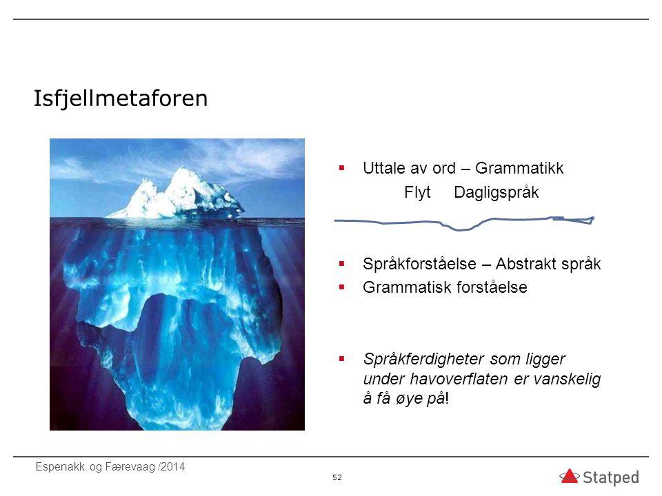 Isfjellmetaforen  Uttale av ord – Grammatikk Flyt Dagligspråk  Språkforståelse – Abstrakt språk  Grammatisk forståelse  Språkferdigheter som ligge