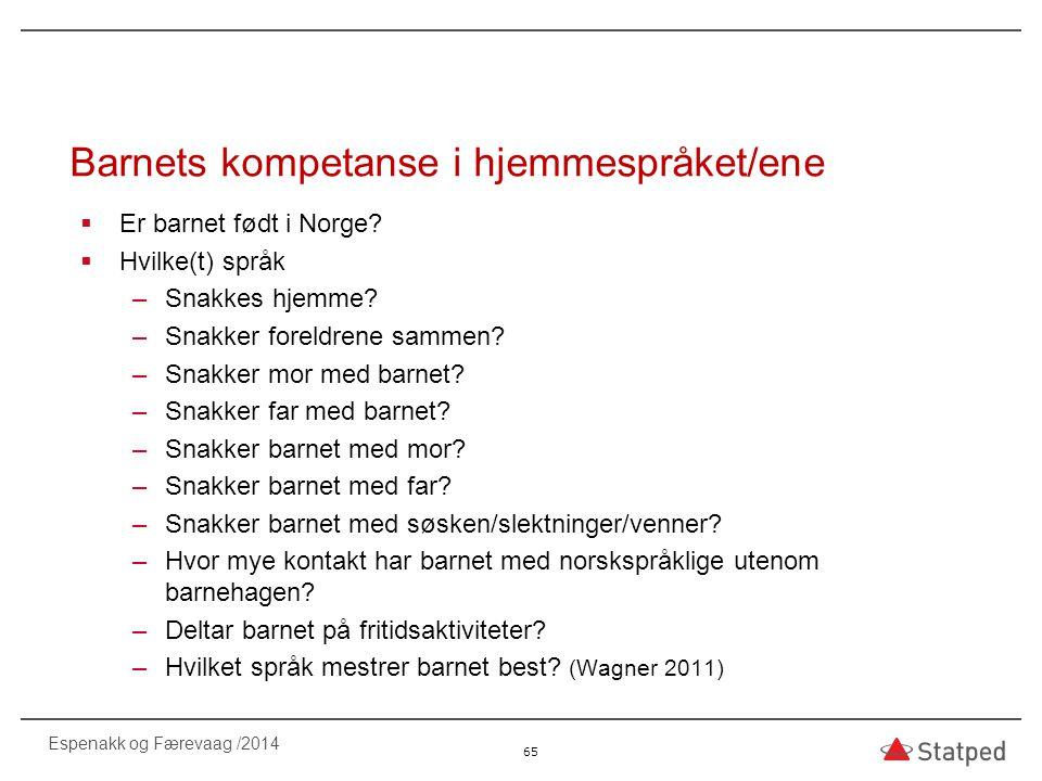 Barnets kompetanse i hjemmespråket/ene  Er barnet født i Norge?  Hvilke(t) språk –Snakkes hjemme? –Snakker foreldrene sammen? –Snakker mor med barne