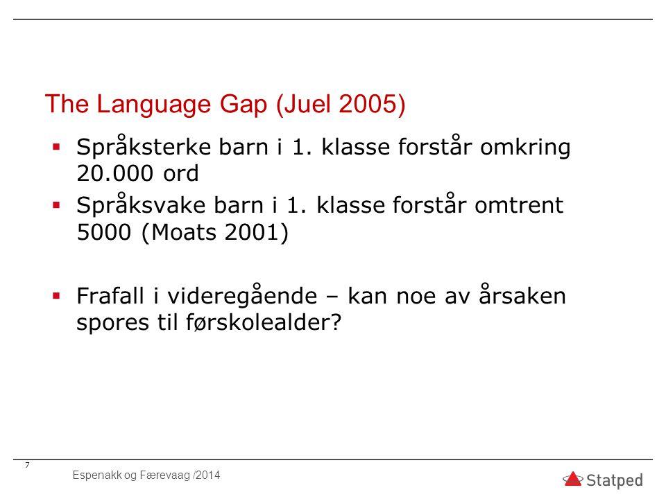 The Language Gap (Juel 2005) 7  Språksterke barn i 1. klasse forstår omkring 20.000 ord  Språksvake barn i 1. klasse forstår omtrent 5000 (Moats 200