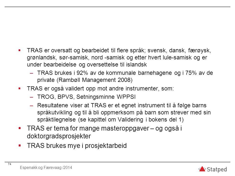  TRAS er oversatt og bearbeidet til flere språk; svensk, dansk, færøysk, grønlandsk, sør-samisk, nord -samisk og etter hvert lule-samisk og er under