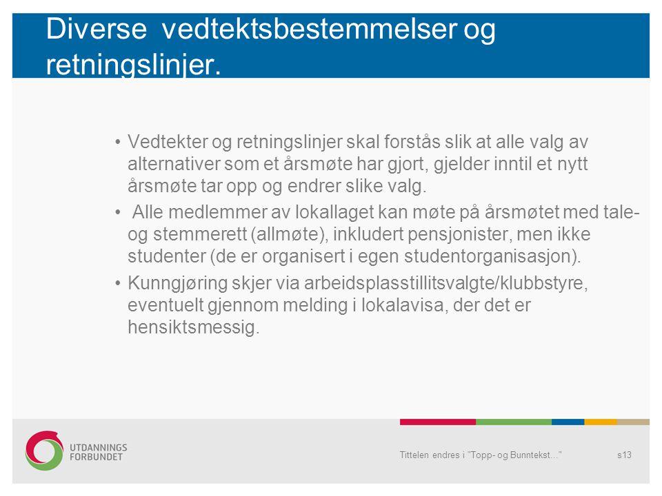 Diverse vedtektsbestemmelser og retningslinjer.