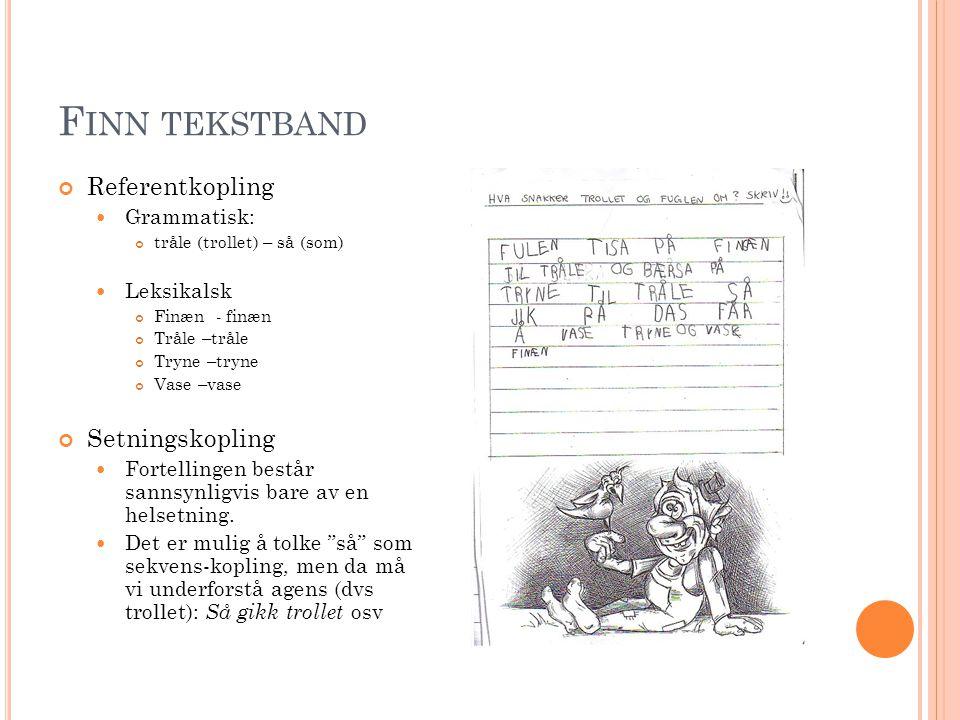 F INN TEKSTBAND Referentkopling  Grammatisk: tråle (trollet) – så (som)  Leksikalsk Finæn - finæn Tråle –tråle Tryne –tryne Vase –vase Setningskopli