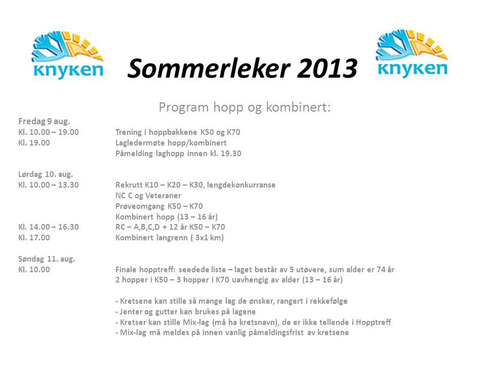 Sommerleker 2013 Program hopp og kombinert: Fredag 9 aug. Kl. 10.00 – 19.00Trening i hoppbakkene K50 og K70 Kl. 19.00Lagledermøte hopp/kombinert Påmel