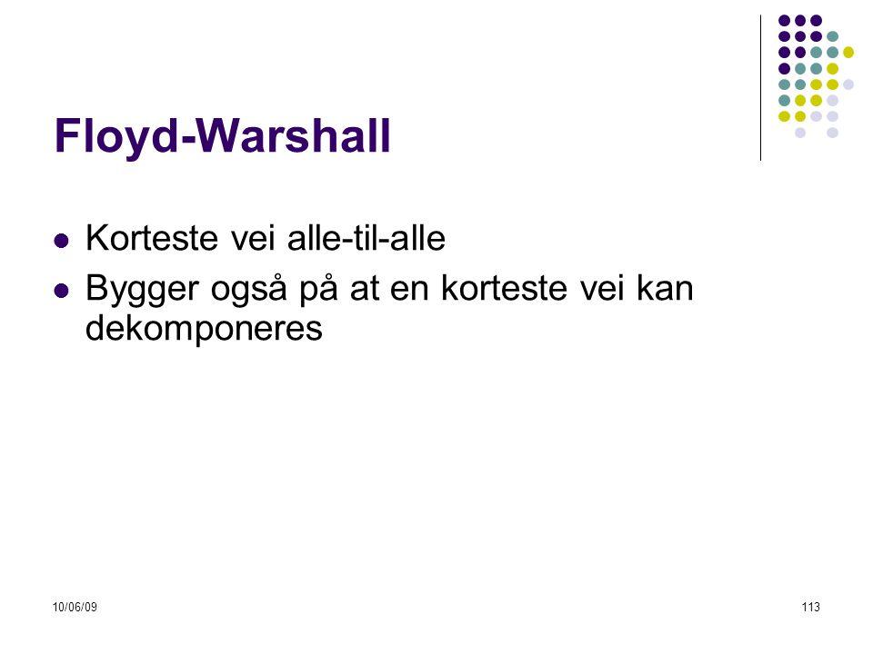 10/06/09113 Floyd-Warshall  Korteste vei alle-til-alle  Bygger også på at en korteste vei kan dekomponeres