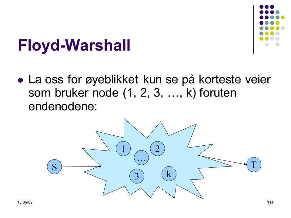 10/06/09114 Floyd-Warshall  La oss for øyeblikket kun se på korteste veier som bruker node (1, 2, 3, …, k) foruten endenodene: S 1 3 T 2 k …