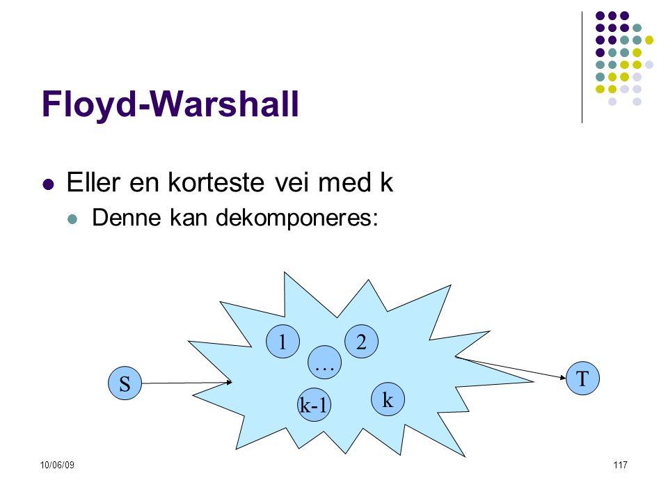 10/06/09117  Eller en korteste vei med k  Denne kan dekomponeres: Floyd-Warshall S 1 k-1 T 2 k …